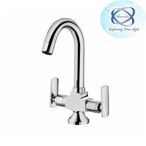 LV-109 CENTRAL HOLE BASIN MIXER WITH REGULAR SPOUT WITH 450MM BRAIDED HOSES