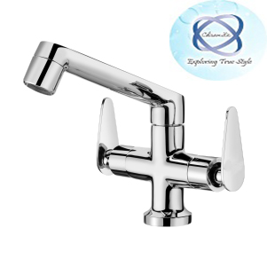 PA-109 central-hole-basin-mixer-with-regular-spout-with450mm-braided-hoses
