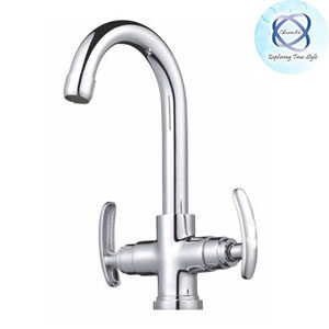 SI-111 CENTRAL HOLE BASIN MIXER WITH REGULAR SPOUT WITH 450 MM BRAIDED HOSES