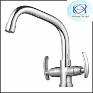 SI-112 CENTRAL HOLE BASIN MIXER WITH EXTENDED SPOUT WITH 450MM BRAIDED HOSES